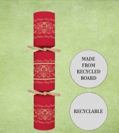 """Tom Smith Recyclable Red & Gold Script Christmas Cracker 12"""" / 30cm"""