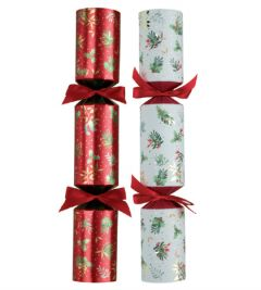 """Tom Smith Deluxe Red & White Holly Christmas Cracker Mixed Box 14"""" / 35.5cm"""