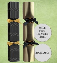 """Tom Smith Recyclable Deluxe Black & Gold Square Christmas Cracker Mixed Box 14"""" / 35.5cm"""