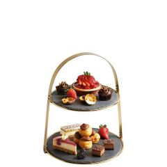 Artesa 2 Tier Arch Frame Brass Cake Stand With Slate Serving Platters 29.5x35cm