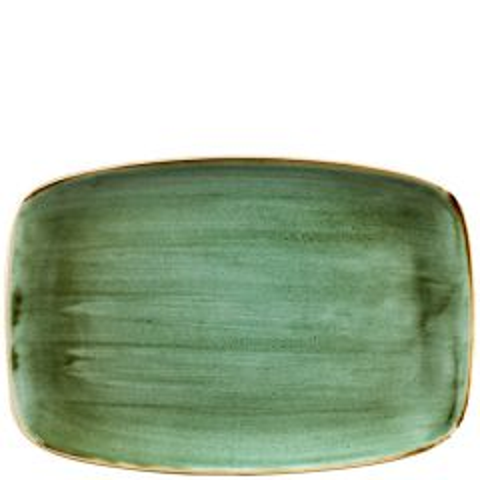 "Churchill Stonecast Samphire Green Chefs' Oblong Plate No.9, 13.875x9.625"" / 35.5x24.5cm"