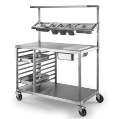 Stainless Steel Chefs Preparation Bench With Castors