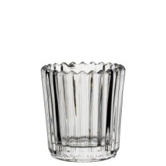 """Clear Large Ribbed Glass Nightlight Holder 3"""" / 7.5cm"""