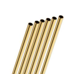 """Stainless Steel Gold Straw 6mm Bore 8.5"""" / 21.5cm"""