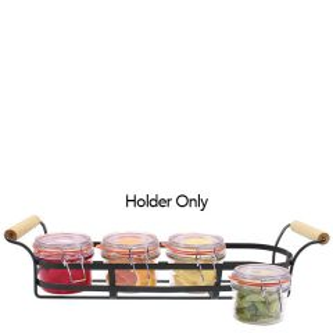 "Black Powder Coated Condiment Jar Holder with Handles 18.3x4.9x4.5"" / 46.5x12.5x11.5cm"