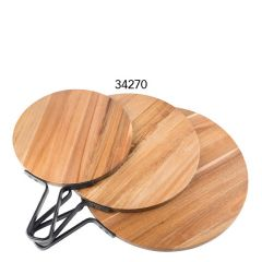 """Industrial Acacia Wood Round Paddle with Metal Banding Handle 12"""" / 30.5cm"""