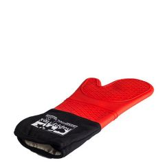 Cotton Lined Black Silicone Oven Glove with Arm Protection