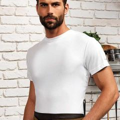 """Chefs White Polyester CoolChecker Wicking Fabric T-Shirt Small 34"""""""