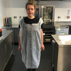 White Disposable Tabard Style Knee Length Apron
