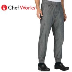 "Chef Works Urban 257 Jogger Pants Black / White Stripe Small 30""-32"""