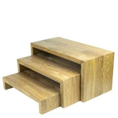 Lacquered Natural Oak Rectangular Buffet Nesting Tables Low 310x180x60mm