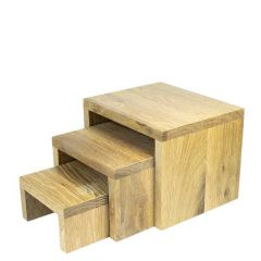 Lacquered Natural Oak Patisserie Nesting Tables Medium 190x190x120mm
