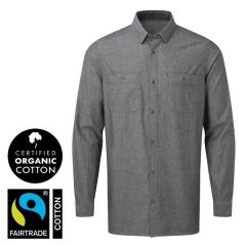 "Men's Grey Denim Chambray Shirt, 100% Organic Fairtrade Cotton L 42"""