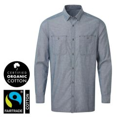"""Men's Indigo Denim Chambray Shirt, 100% Organic Fairtrade Cotton S 34"""""""