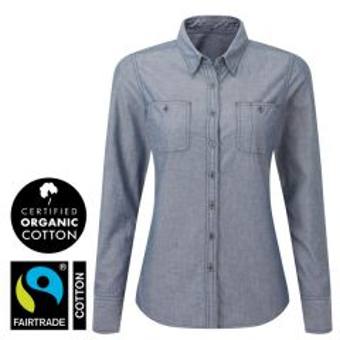 Women's Indigo Denim Chambray Shirt, 100% Organic Fairtrade Cotton L Size 14