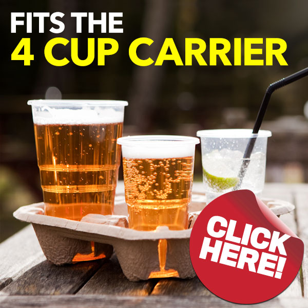 Plastico Disposable Plastic Pint Glasses also fit the 4 Cup Carrier