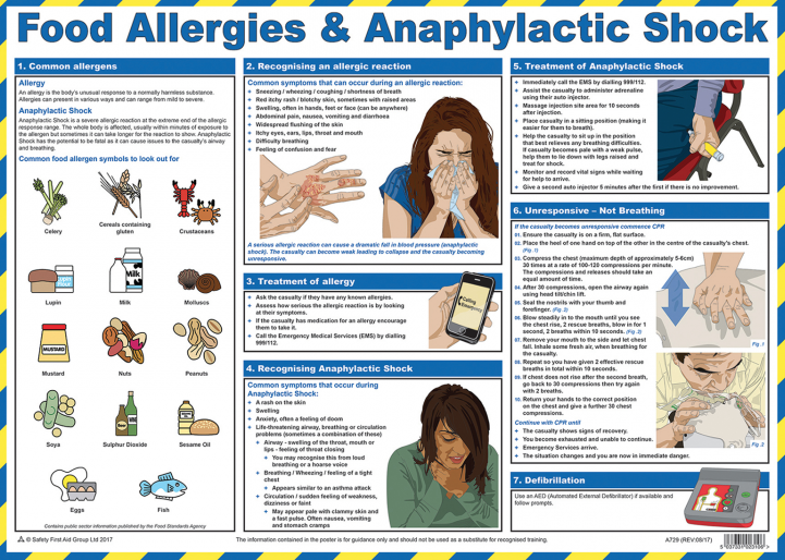 Food Allergy and Anaphylactic Shock Guidance Poster from Stephensons Catering Suppliers