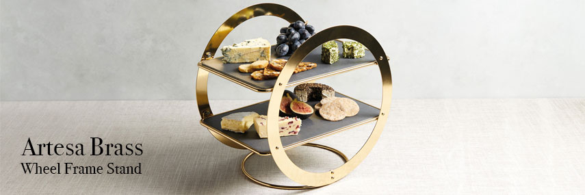 Artesa Brass Wheel Frame Serving Stand With Slate Platter