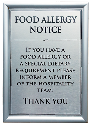 Food Allergy Notice Sign A5 in Snap Frame from Stephensons Catering Suppliers