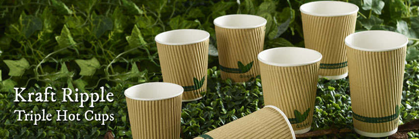 Compostable PLA Lined Kraft Ripple Hot Cup