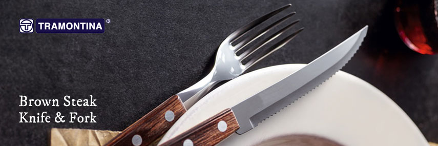 Tramontina Polywood Brown Steak Knife and Fork