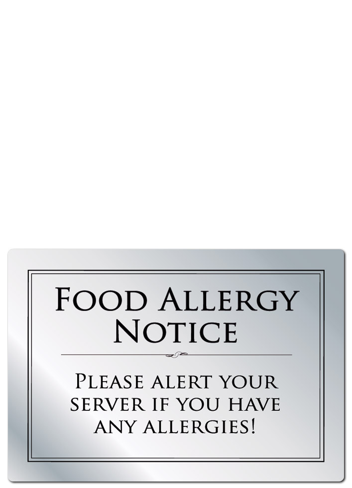 Brushed Silver Food Allergy Notice A5 148x210mm from Stephensons Catering Suppliers