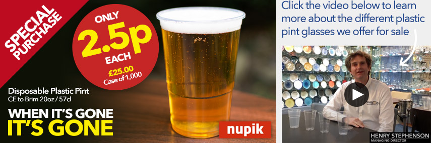 Nupik Disposable Plastic Pint Glasses CE to Brim