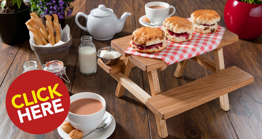 Mini Picnic Bench Afternoon Tea Cake Display