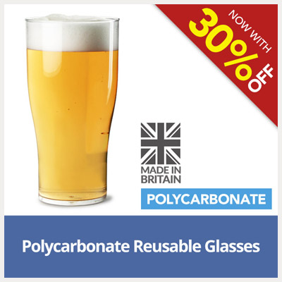 30% Off Polycarbonate Reusable Glassware