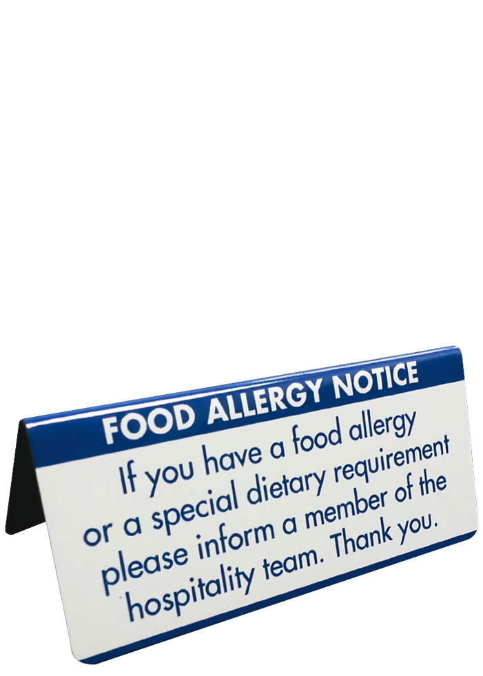Food Allergy Table Notice Blue Text on Brushed Silver 45x100mm from Stephensons Catering Suppliers