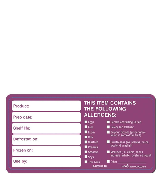 Purple Allergen Removable 'Date Use By' Labels from Stephensons Catering Suppliers
