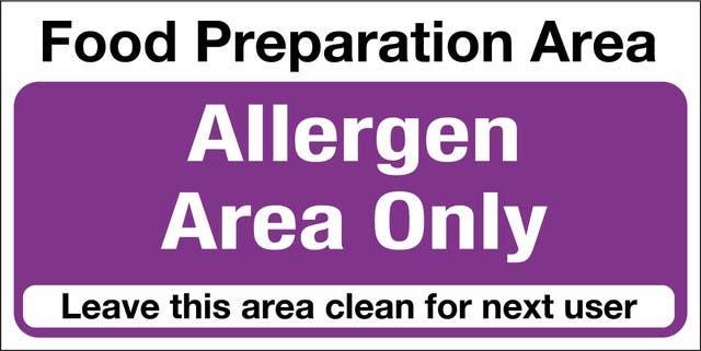 Allergen Food Preparation Area Self-Adhesive Sticker
